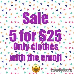 🤩 5 for $25 clothes only with emoji 🤩